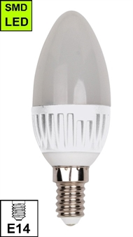 LED bulb Candle style E-14 5W, matted