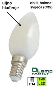 LED bulb with oil cooling E-14 3W , CANDLE 3000K