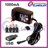 Universal Power adapter with voltage selector 3-12V 1000mA