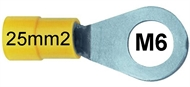 Ring terminal insulated 25 mm2 M6 yellow