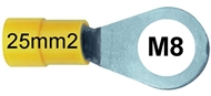 Ring terminal insulated 25 mm2 M8 yellow