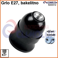 Lampholder with socket E27 hanging, bakelit, screw contact, black