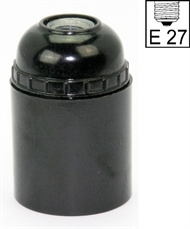 Socket E27 ,bakelite, screw contact, black