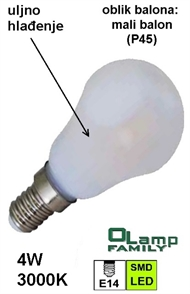 LED bulb with oil cooling E14 4W , small globe 3000K