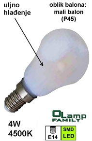 LED bulb with oil cooling E14 4W , small globe 4500K