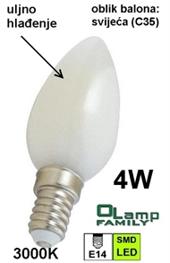 LED bulb with oil cooling E14 4W , CANDLE 3000K
