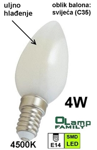 LED bulb with oil cooling E14 4W , CANDLE 4500K