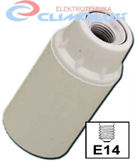 Socket lampholder E14 plain skirt, screw contact, white