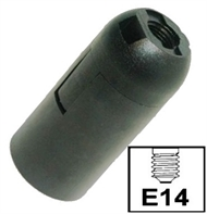 Socket lampholder E14 plain skirt, screwless contact, black