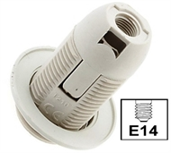 Socket lampholder E14 with external thread, screwless contact, white