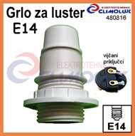 Socket lampholder E14 with external thread, screw contact, white