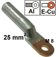 Non-insulated copper-aluminum ring-tube terminal  25 mm2 M 8