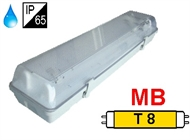 Protected luminaire IP65 for T8 fluo. tubes 2x18W, magnetic ballast