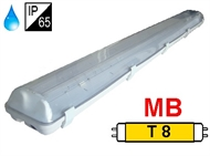 Protected luminaire IP65 for T8 fluo. tubes 2x58W, magnetic ballast