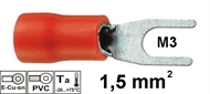 Insulated fork terminal  1,5mm2 M3 , red