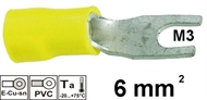 Insulated fork terminal   6mm2 M3 , yellow