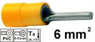 Insulated Pin terminal 6 mm2 , yellow