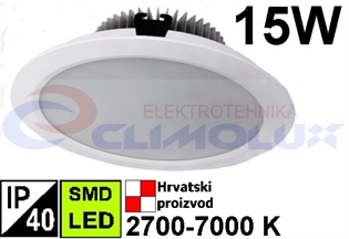 LED downlighter DL 15W, SMD, bijeli
