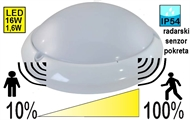 Protected LED luminaire with motion sensor and control light 16W FM04C IP54