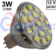 LED lampe MR16 SPOTLIGHT 3W/27K SMD, GU5,3
