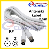 Antenna cable RF male to female, 2,5m, white