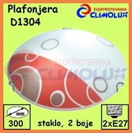 Ceiling Lamp ROUND D1304, 2 color glas with patterns 2xE27