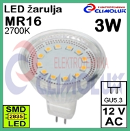 LED lampe MR16 3W/2700K Spotlight SMD, GU5,3