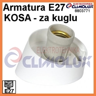Wall socket E27 white for Classical Ball-lamp, oblique