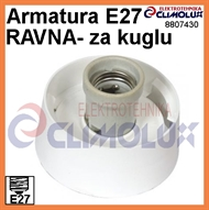 Wall socket E27 white for Classical Ball-lamp, straight
