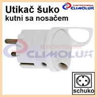 Schuko-plug PVC side cabel entry with holder, white