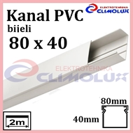 Plastic cable trunking  80 x 40 white 2m