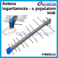 Terrestrial antenna logarithmic, External, UHF with amplifier