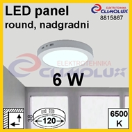 LED panel RN 24W, 6500K, VK, surface-monted, round
