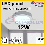 LED panel RN 12W, 6500K, VK, surface-monted, round