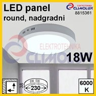 LED panel RN 18W, 6000K, VK, surface-monted, round