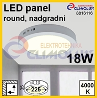 LED panel RN 18W, 4000K, VK, surface-monted, round