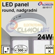 LED panel RN 24W, 4000K, VK, surface-monted, round