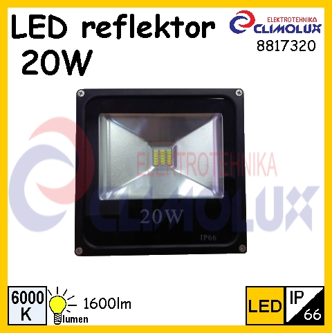 led strahler 20w 6000k ip66 vk climolux elektrotehnika. Black Bedroom Furniture Sets. Home Design Ideas