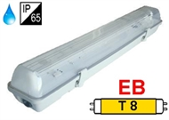 Waterproof luminaire IP65 for T8 fluo. tubes 1x18W, electronic ballast