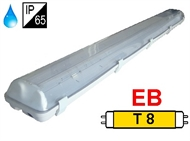 Waterproff luminaire IP65 for T8 fluo. tubes 2x36W, electronic ballast