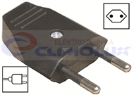 EURO Plug type C, flat, straight cable entry, black