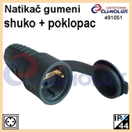 Rubber coupling socket, Shuko, with lid, black, CS, IP44