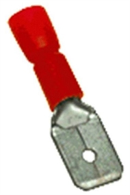 Flat terminal male insulated 6,3x0,8mm ,1,5mm2 red