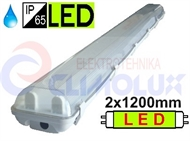 Protected luminaire for LED tubes 2x1200mm IP65