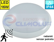 Protected interior wall luminarie with motion sensor FM02 16W IP44