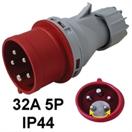 Industrial plug  32A 5P with phase inverter option IP44