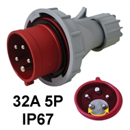 Industrial plug  32A 5P with phase inverter option IP67